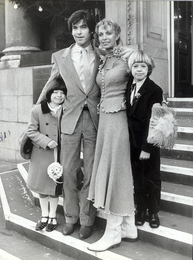 Doting father: Charlotte was nine years old when her mother Cassandra married Pierce at Chelsea registry office in 1980 while Chris was seven - the two children were from her previous relationship