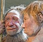 """FILE - This Friday, March 20, 2009 file photo shows reconstructions of a Neanderthal man named """"N"""", left, and woman called """"Wilma"""", right, at the Neanderthal museum in Mettmann, Germany. Trying to explain cases of ancient cannibalism among our evolutionary forerunners is a vexing scientific challenge. A new study released Thursday, April 6, 2017 in the Journal Scientific Reports suggests that whatever the reasons, they were probably not hunting each other just for food. (AP Photo/Martin Meissner)"""