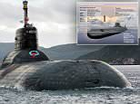 Two Naval officers can be seen on Russia's monstrous Dmitry Donskoy Typhoon-class submarine as it emerges from the sea. The massive Typhoon-class sub  is to leave the White Sea and travel around Norway and Denmark into what Putin's officials are calling NATO's swimming pool.