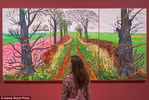Rich background: Hockney's Yorkshire paintings are set off by Red Velvet paint