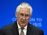 FILE - In this March 22, 2017, file photo, Secretary of State Rex Tillerson speaks at the Meeting of the Ministers of the Global Coalition on the Defeat of ISIS in Washington. Lambasted for his low-key diplomacy, Tillerson is emerging from the shadows with his leading public role in shaping and explaining the Trump administration's missile strikes in Syria. He now takes on an even higher-profile mission, heading to Moscow under the twin clouds of Russia's alleged U.S. election meddling and its possible support for a Syrian chemical weapons attack. (AP Photo/Cliff Owen, File