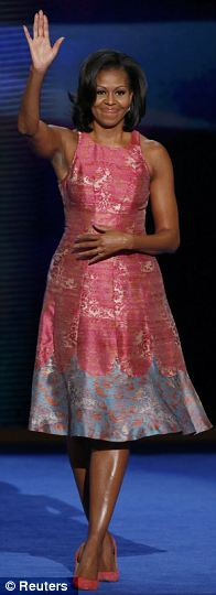 All angle access: Michelle Obama stepped out at the Democratic National Convention wearing a dusty pink dress by African-American designer Tracy Reese, paired with $245 J. Crew heels