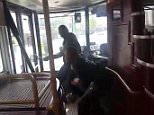 This is the shocking moment a hero commuter wrestled a knifeman who stormed a busy 149 bus in Stoke Newington in broad daylight on Tuesday