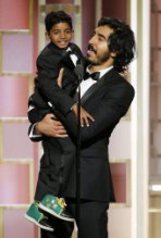 Dev Patel and Sunny Pawar at an event for The 74th Golden Globe Awards (2017)