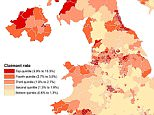The map produced by the House of Commons Library based on ONS figures shows the hotspots for benefits claims