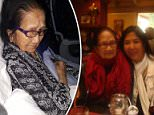 Frail: Paz Orquiza (seen on United plane), 94, endured 16 hours of agony on an LA-Australia flight in February because United staff wouldn't let family help her, forcing her to move from her $3,600 business seat to economy, family said