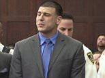 Tears of joy:Former New England Patriots tight end Aaron Hernandez, pictured beside defense attorney Ronald Sullivan, was found not guilty of a double murder on Friday