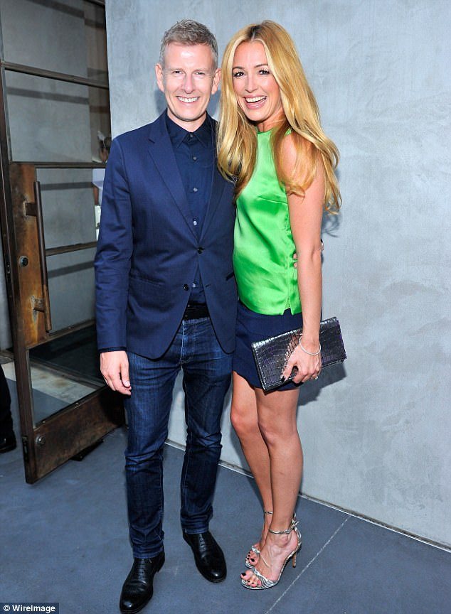Happy couple: Patrick Kielty has joked he 'broke the rule of don't get your money where you get your honey' when he began dating his now-wife Cat Deeley (pictured July 2015)