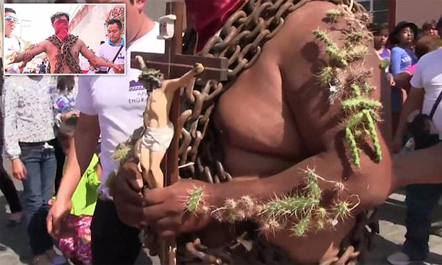 Christians in Mexico covered with CACTI for Good Friday