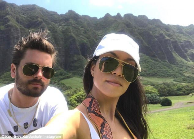 Meanwhile: Just last week Kourtney - who turns 38 this coming week - posted a selfie with Scott, adding: 'Mom and Dad back at it again with the coparenting skills'