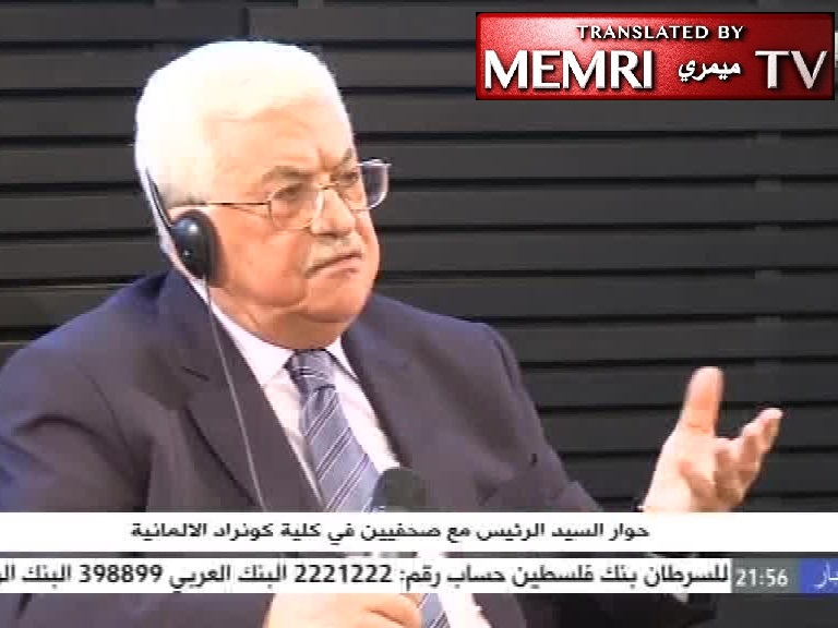 Palestinian President Abbas in Berlin: Sunni-Shiite, Christian-Muslim Conflicts Are All Fabricated;