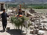 Devastating aftermath: Afghan boys are seen walking with a donkey amid the rubble of shops in Shadal bazar in Achin district of Nangarhar province