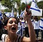 Shame: An Israeli student shouts during a protest against her country's use of force in the deadly flotilla raid