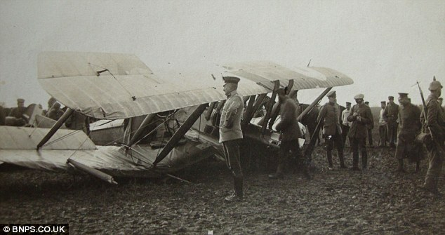 Blast! Oswald Boelke takes a picture of Formilli's crashed aircraft in January 1916 after shooting it down