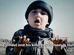 This boy delivers a speech to camera before handing knives to an ISIS killer in propaganda video
