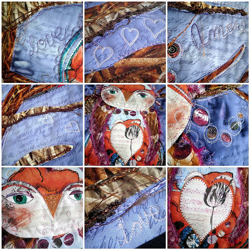 Close Ups of Details for 'Owl Be Yours' - Project QUILTING 'Be My Valentine' Challenge