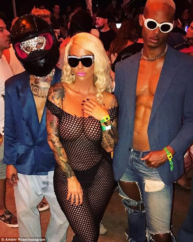 Eye-popping: Amber wasn't shy during Coachella, as she showcased her features in a net bodysuit
