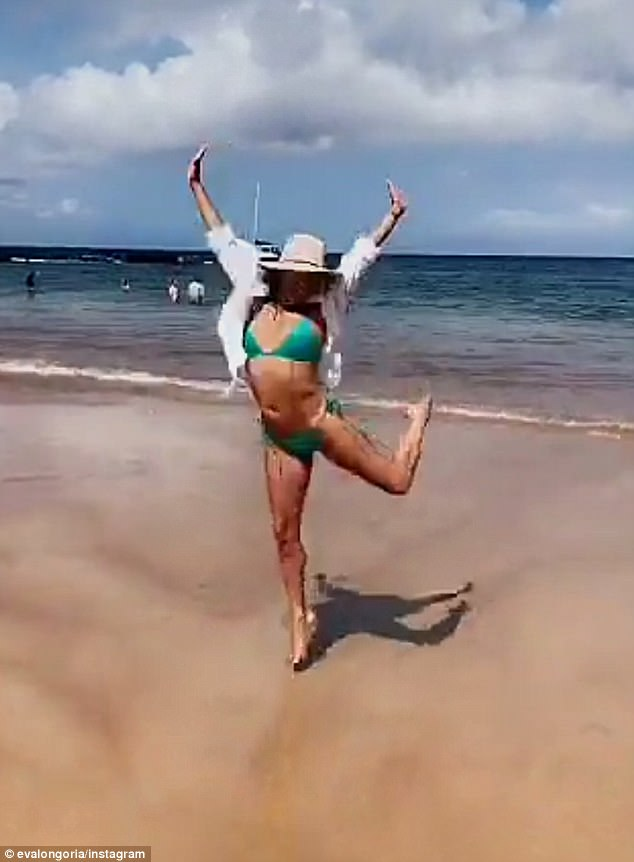 Jump, no bump: The former Desperate Housewifes star showed off her bikini body after the unflattering shots