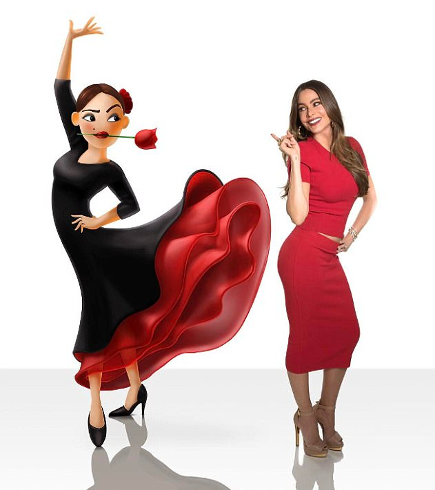 Dancing queen: She announced on Tuesday she would play the role of Flamenco Dancer in Sony's The Emoji Movie, posting this photo with her character to Instagram