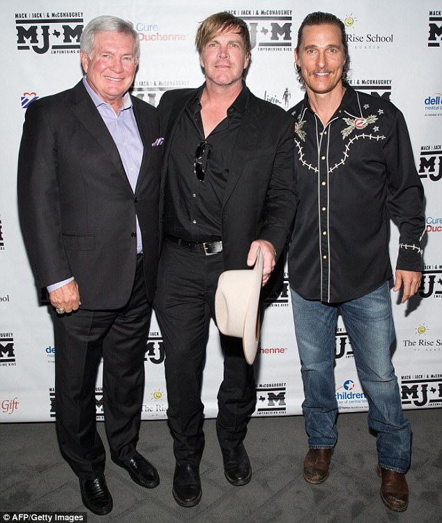 'Coming together': Mack, Jack & McConaughey (MJ&M) is the joint fundraising effort of McConaughey, ACM Award-winning recording artist Jack Ingram, 46, and ESPN analyst and Texas coaching legend Mack Brown, 65 (L)