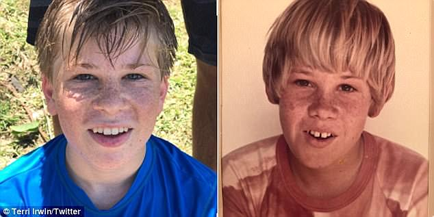 Eerie:The uncanny similarities between Robert and Steve were  brought to the fore recently when Robert shared a shildhood pic of Steve Channel Nine's Today show. Steve is pictured left