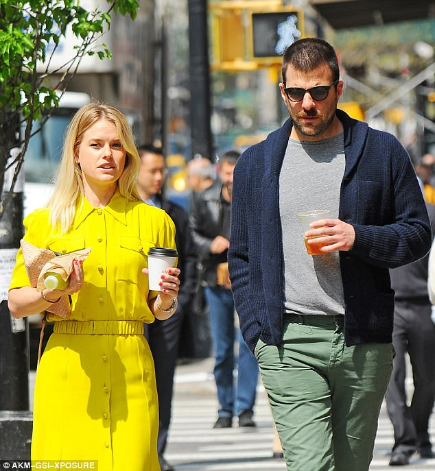Standing out: The English actress, 35, brought a splash of colour to the sunny day in a pretty bright shirt dress