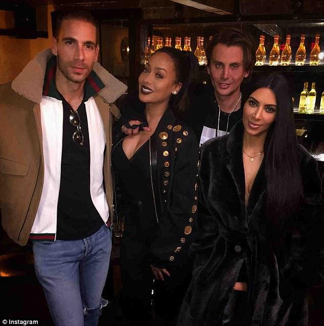 Longtime pals: La La and Kim with Simon Huck and Jonathan Cheban in February
