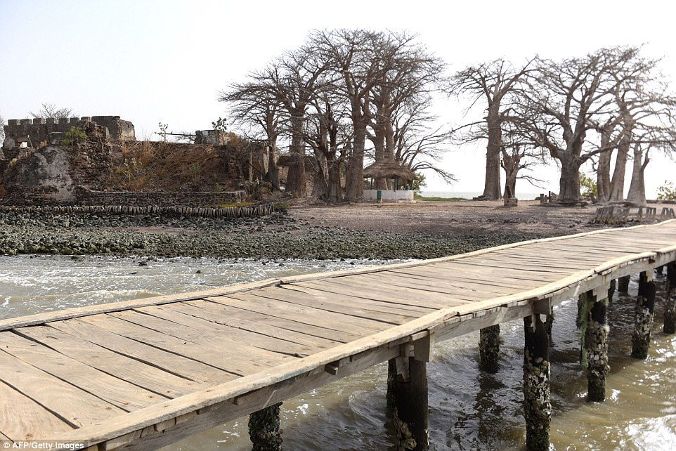 A pier leading to the island, formerly known as James Island