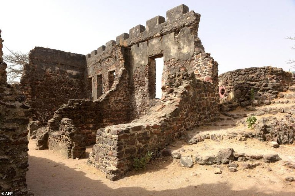 The remains of buildings on Kunta Kinte island in the Gambia River, previously used for the slave trade