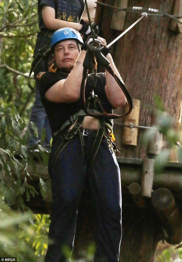 What a rush! Musk looked pleased while zipping down