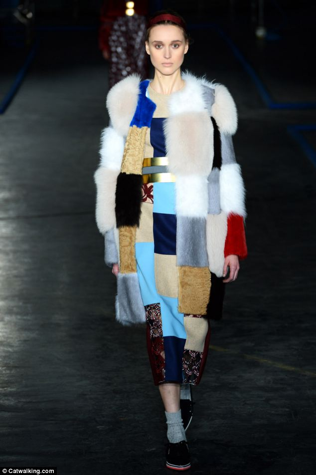 London nightclub Mahiki - where Prince Harry goes to party - won't let in anyone wearing fur which proves not everyone has accepted the material as the norm. Pictured: Roksanda Illncic model at London Fashion Week