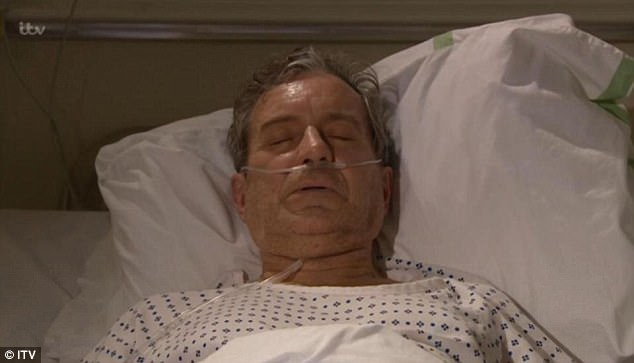 Sad scenes: It all came to a head on Monday night's episode of Emmerdale, as it was announced that Ashley - played by John Middleton - only has days left to live