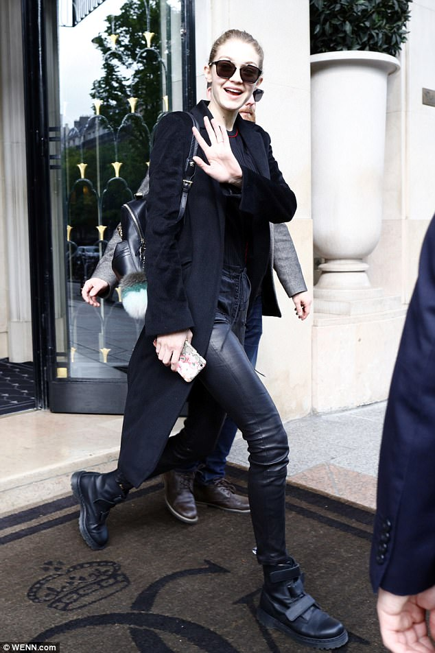 Black beauty: Gigi Hadid was seen leaving a Paris hotel on Wednesday, wearing another all-black outfit