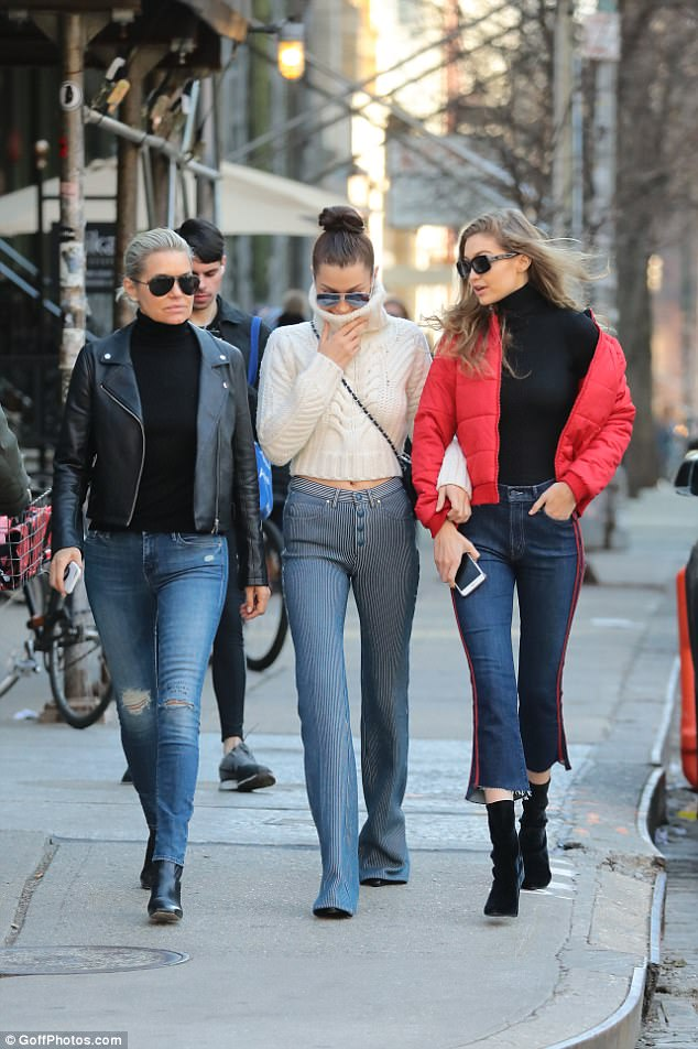 Close family: Yolanda was honoured with the Mother of the Year accolade at Daily Front Row's 3rd Annual Fashion Los Angeles Awards (pictured in January with Bella and Gigi)