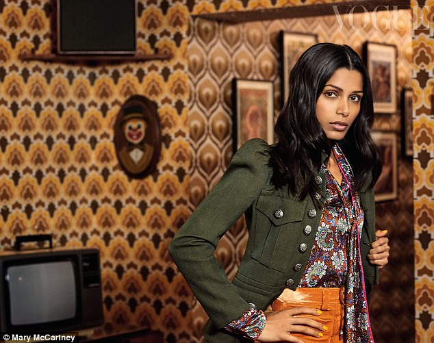 Retro: Freida Pinto also stars in the Vogue shoot, with her shot featuring a retro 70s vibe in keeping with her new drama Guerrilla