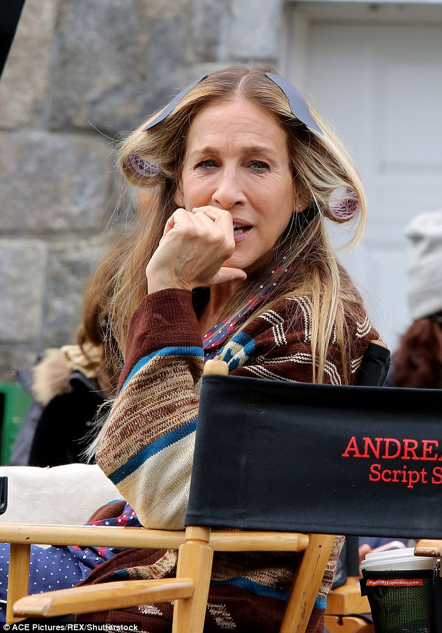 Leading lady:Sarah Jessica Parker was getting into character as she was pictured on set for her show Divorce on Wednesday in New York City