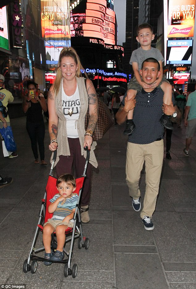 Mom-of-three: She already has sons Isaac, seven, (from her relationship with ex-boyfriend Jo Rivera) and Lincoln, three, (from her marriage to ex-husband Javi Marroquin, pictured 2015)