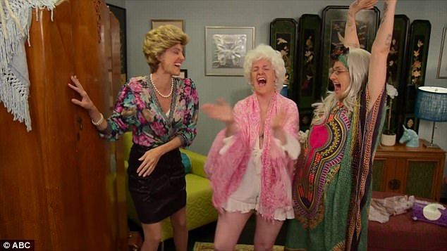 In stitches: Allison, Lena and Jemima are then seen laughing hysterically after locking Zosia in an antique cupboard