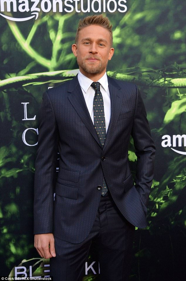 Stud:Charlie Hunnam, who is the lead in the film, looked dapper in a black suit as he showed off his blonde stubble and sun-kissed complexion