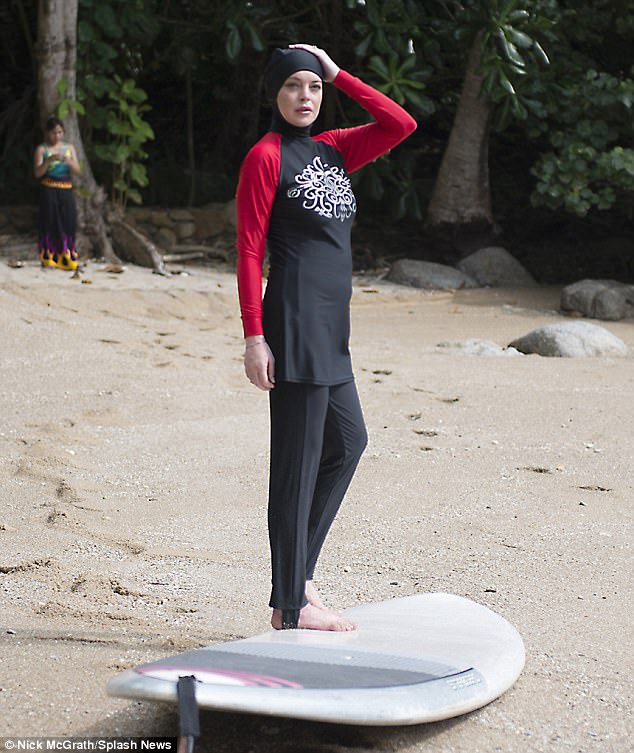 So fetch! It was a very different look to the Burkini Lindsay was seen modelling which covered her from head to toe