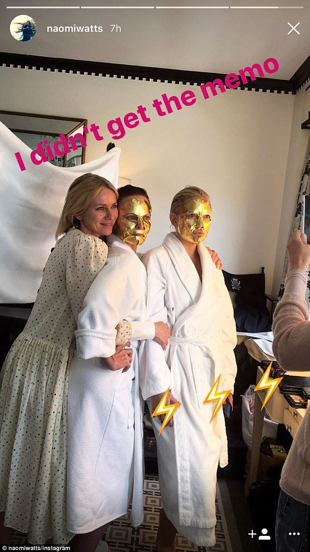 'I didn't get the memo': Naomi arrived make-up free in a polka-dot dress while Stella and Kate were in matching robes with their face masks still applied