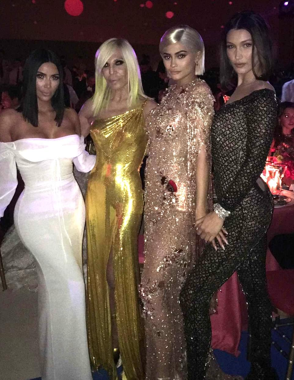 Wanna be in our gang? Kim also posed for Snaps with Donatella Versace, Kylie Jenner and Bella Hadid