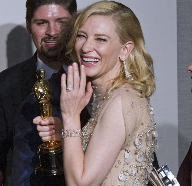 Ring and bracelet: Cate finished off her look with a brown-diamond bracelet and a pear-shaped diamoind ring, both from Chopard