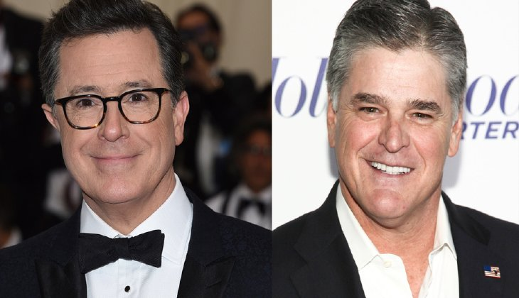 """""""I will NOT support #FireColbert,"""" Hannity wrote. """"I am [against] ALL BOYCOTTS. He is a horrible human being, but if [you] don't like him change the channel."""" (AP)"""
