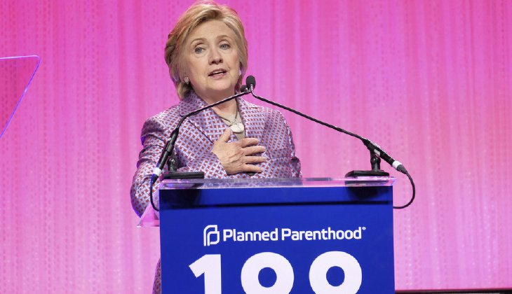 Former Secretary of State Hillary Clinton speaks at the Planned Parenthood 100th Anniversary Gala in New York. (Photo by Charles Sykes/Invision/AP)