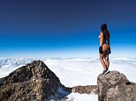 New Zealand Playboy playmate Jaylene Cook, 25, has been criticised by Maori locals for posing naked on sacred Mt Taranaki on the country's North Island (pictured)