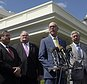 Rep. Greg Walden, R-Ore., second from right, speaks to reporters outside the White House in Washington, Wednesday, May 3, 2017, following a meeting with President Donald Trump on health care reform. From left are, Rep. Michael Burgess, R-Texas, Reps. Billy Long, R-Mo., and Rep. Fred Upton, R-Mich. (AP Photo/Susan Walsh)