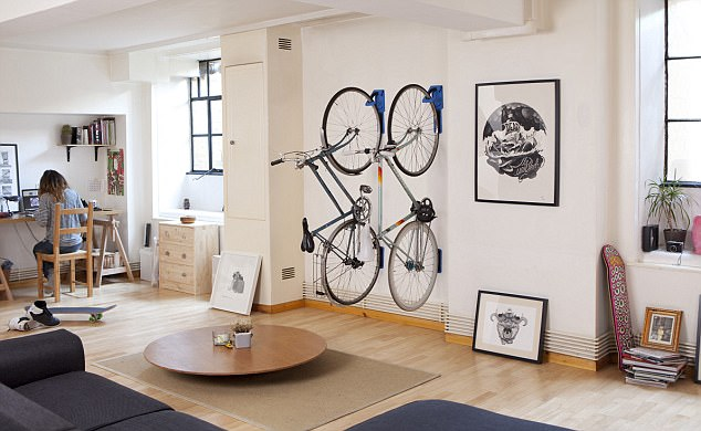Wall story: Store your bike up the wall with products like the Endo, pictured, from Cycloc