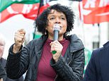 Chi Onwurah, pictured on a march in 2015,has sparked anger by taking a jibe at the Duke of Edinburgh
