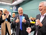 Conservative candidate for Chelmsford Central, Dick Madden, celebrates with colleagues after retaining his seat